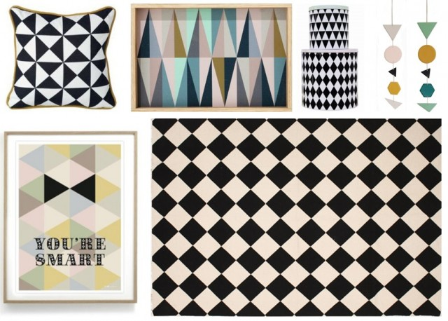 d co style scandinave triangle losange bleu noir rose pastel tapis coussin boite guirlande. Black Bedroom Furniture Sets. Home Design Ideas