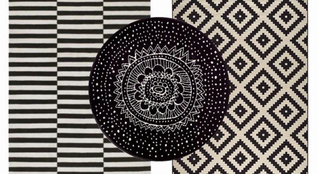tapis coton laine motif noir et blanc style scandinave ray rond ikea joli place. Black Bedroom Furniture Sets. Home Design Ideas