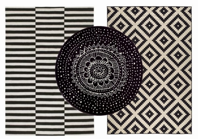 tapis coton laine motif noir et blanc style scandinave ray rond ikea joli place. Black Bedroom Furniture Sets. Home Design Ideas