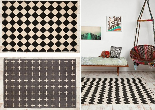 o trouver un tapis graphique noir et blanc joli place. Black Bedroom Furniture Sets. Home Design Ideas