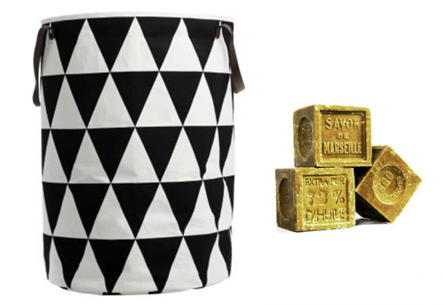 des paniers linge en tissu noir et blanc joli place. Black Bedroom Furniture Sets. Home Design Ideas