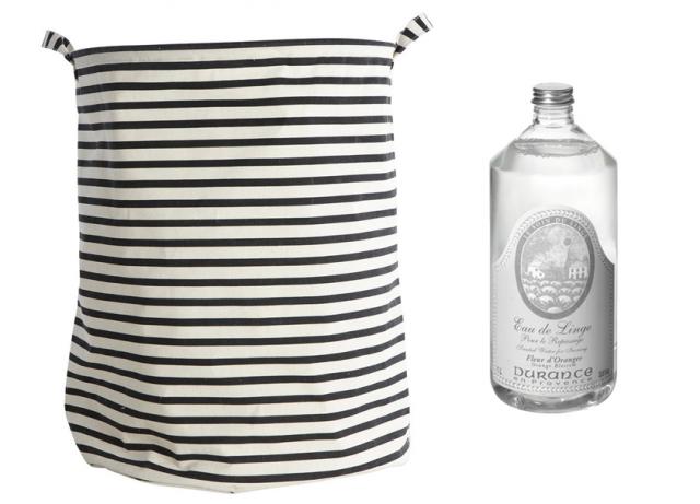 des paniers à linge en tissu noir et blanc - joli place