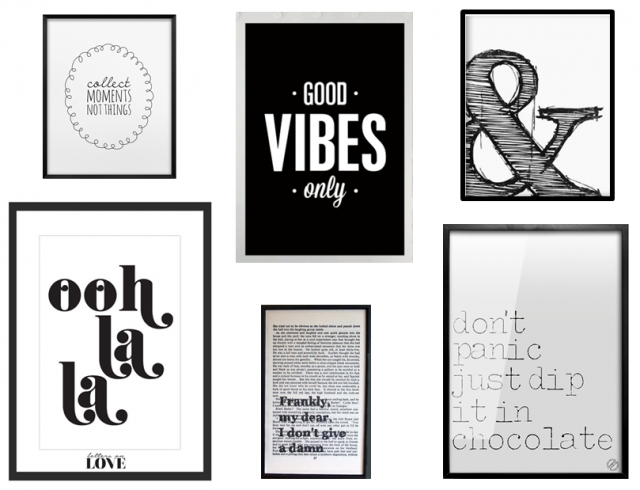 des statement posters en noir et blanc joli place. Black Bedroom Furniture Sets. Home Design Ideas