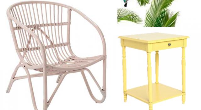deco tropicool style tropical plage fauteuil en soier rose desserte jaune pastel sticker palmier. Black Bedroom Furniture Sets. Home Design Ideas
