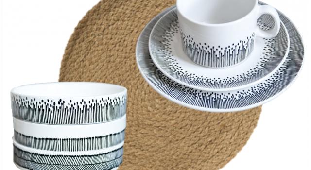 vaisselle noir et blanc scandinave nordique tasse assiette bol set de table joli place. Black Bedroom Furniture Sets. Home Design Ideas