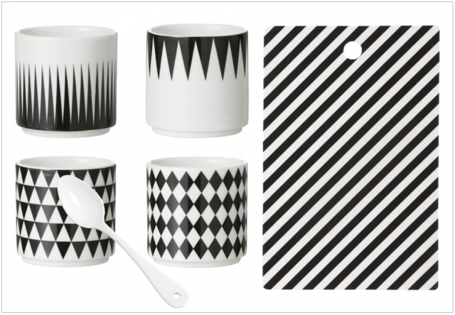 vaisselle noir et blanc scandinave nordique tasse expresso cafe cuillere planche a decouper