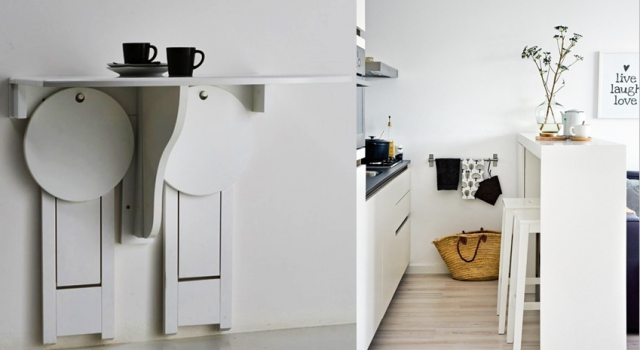 Idee gain de place cuisine table murale pliante avec - Gain de place cuisine ...