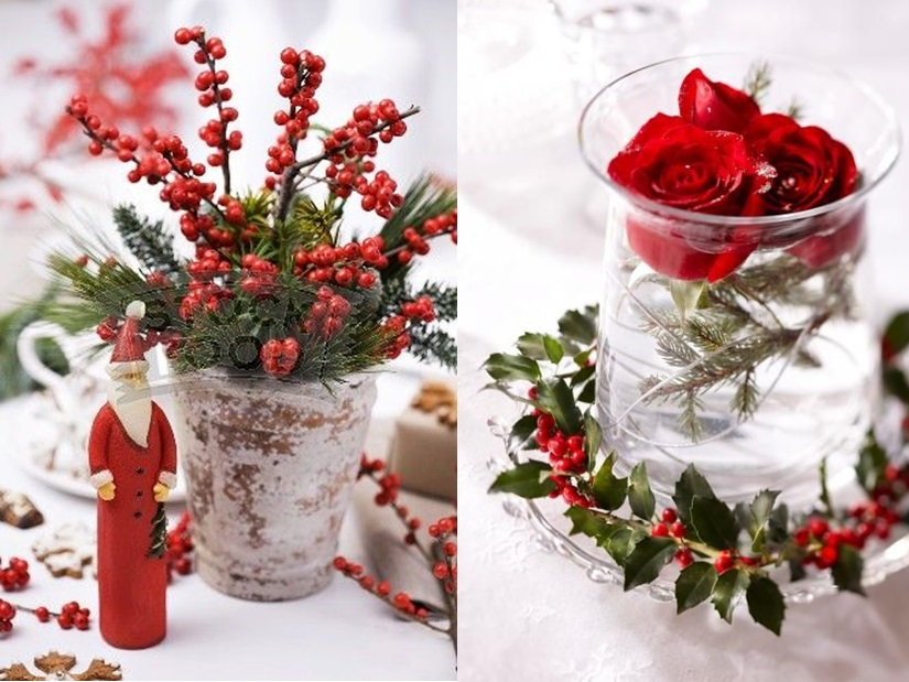 decoration table de noel rouge et blanc