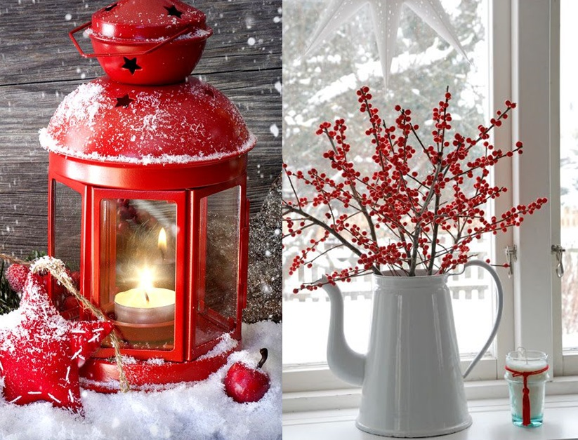 Decoration de noel rouge et blanc for Table noel rouge et blanc