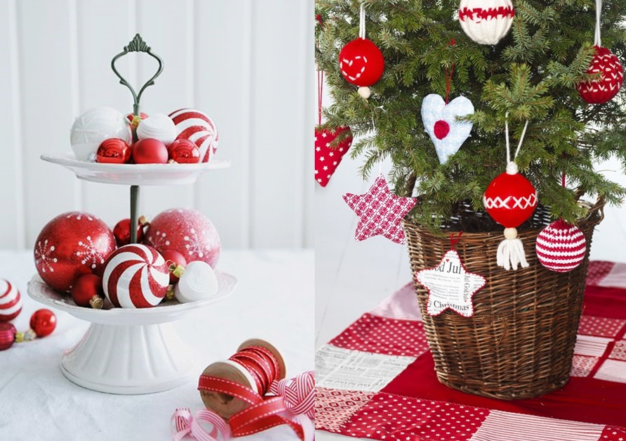 Sapin de no l rouge et blanc pictures to pin on pinterest - Deco table noel rouge et blanc ...