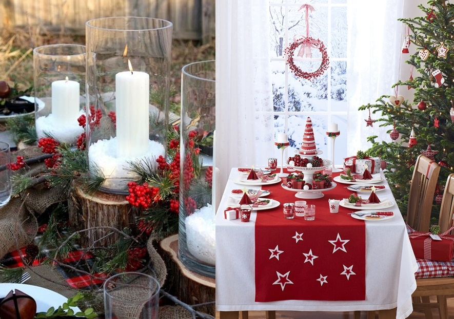 Deco table noel rouge blanc idees accueil design et mobilier for Decoration sapin de noel rouge et blanc