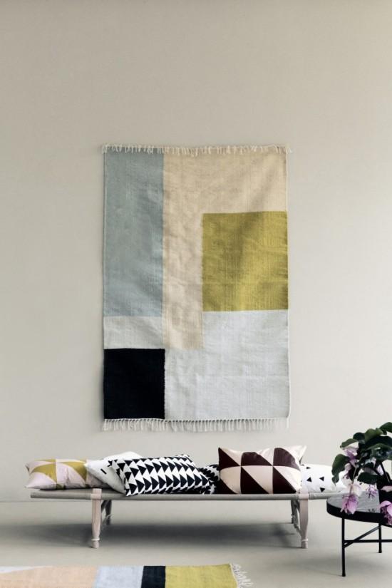 les tapis et coussins kelim de ferm living joli place. Black Bedroom Furniture Sets. Home Design Ideas