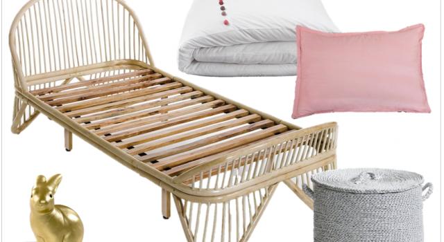 deco enfants chambre petite fille lit rotin soldes hiver 2015 joli place. Black Bedroom Furniture Sets. Home Design Ideas