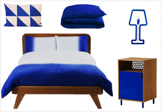 une touche de bleu lectrique dans la d co joli place. Black Bedroom Furniture Sets. Home Design Ideas