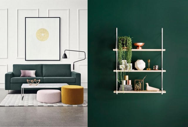 30 inspirations pour une d co en vert fonc joli place. Black Bedroom Furniture Sets. Home Design Ideas