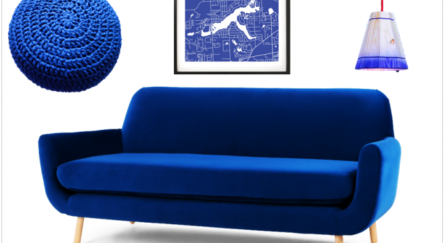 deco salon pouf canape affiche suspension cobalt bleu electrique klein majorelle joli place. Black Bedroom Furniture Sets. Home Design Ideas