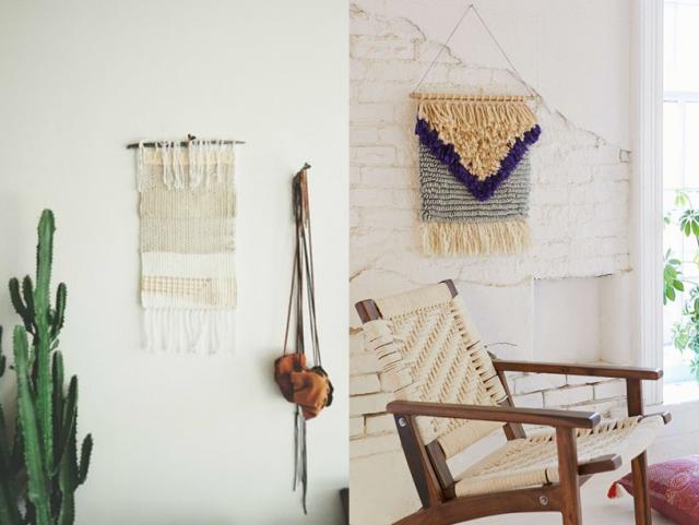 des tissages et tapisseries sur le mur joli place. Black Bedroom Furniture Sets. Home Design Ideas