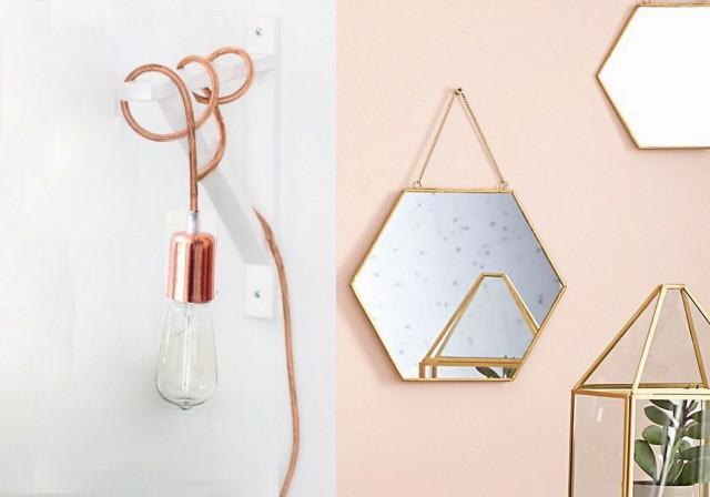 Lampe baladeuse cuivre et miroir hexagonal laiton