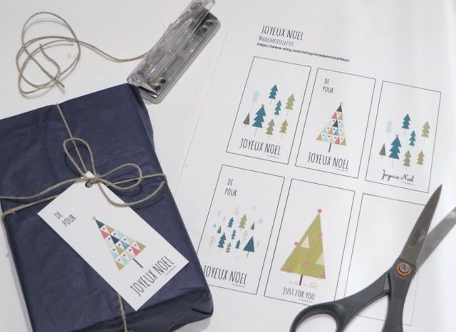 Etiquettes cadeaux de Noël à télécharger