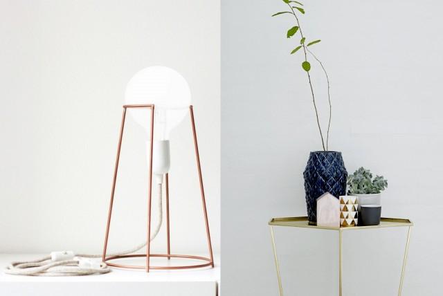 Lampe en cuivre et table en laiton