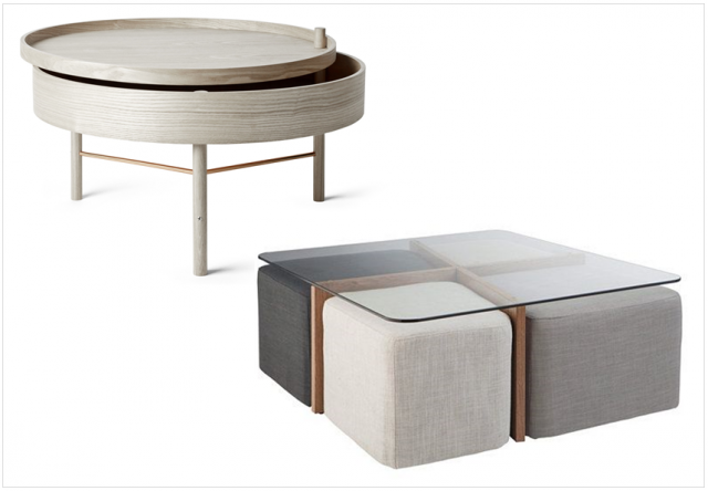 Table basse ronde avec poufs integres meuble de salon - Table basse avec poufs integres ...