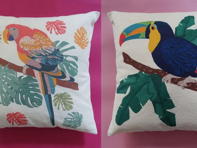 Coussin perroquet et toucan