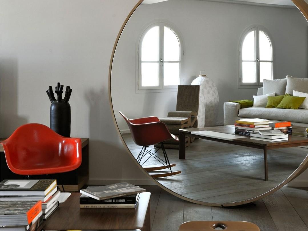 adoptez un grand miroir rond joli place. Black Bedroom Furniture Sets. Home Design Ideas