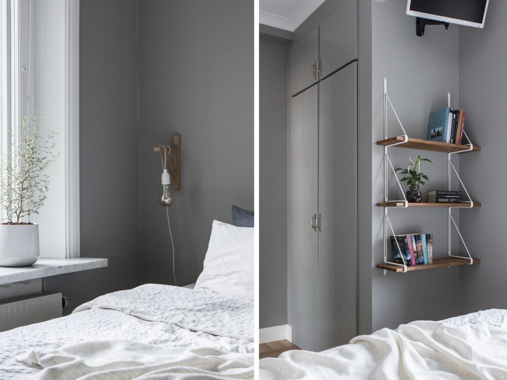 Chambre murs gris