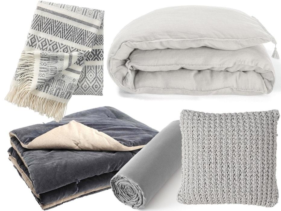 Une chambre la d co grise joli place - Couvre lit gris clair ...