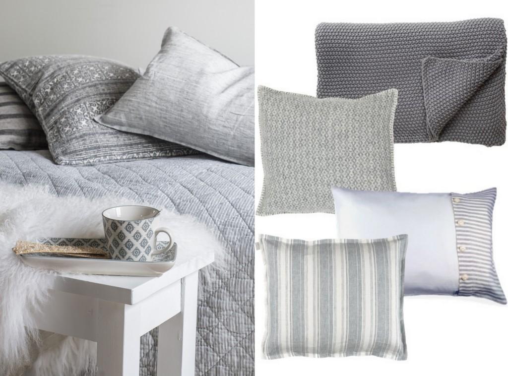 Linge de lit gris