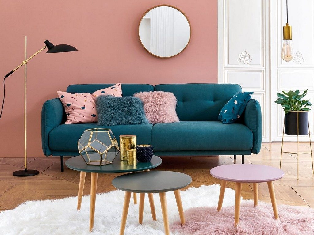 des id es pour un salon en bleu et rose joli place. Black Bedroom Furniture Sets. Home Design Ideas