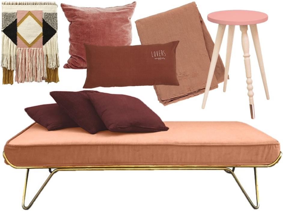 Chambre déco couleur blush