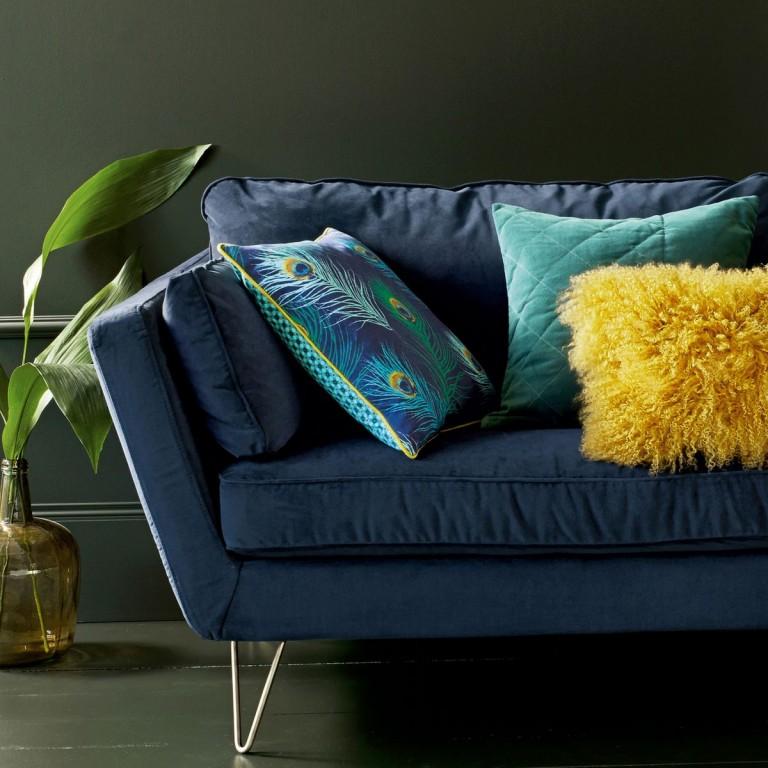 Canapé vintage velours bleu marine
