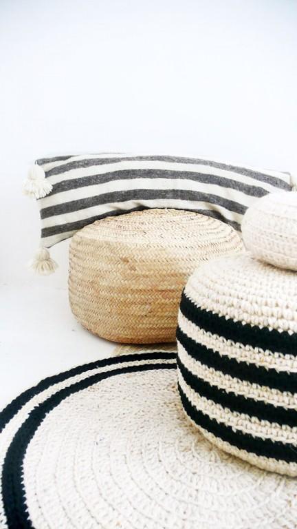 coussin marocain noir et blanc