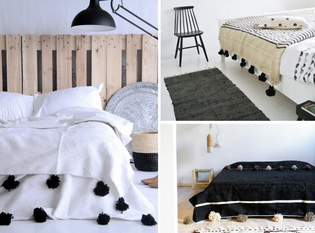 la couverture marocaine pompons un must have pour le lit. Black Bedroom Furniture Sets. Home Design Ideas