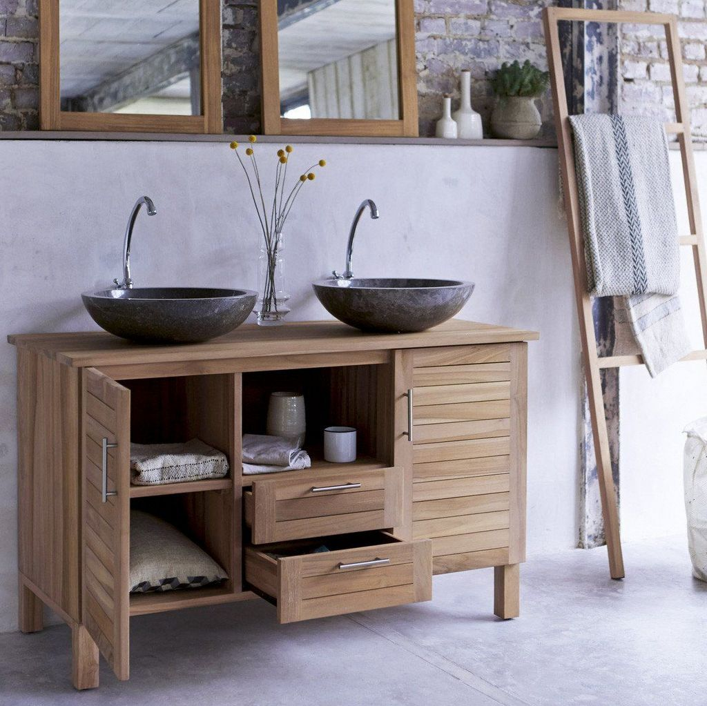 Une salle de bain béton et bois - Joli Place