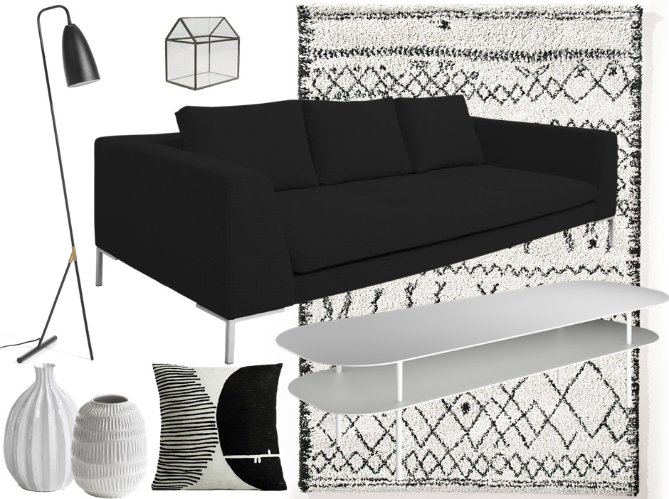 idee deco salon noir et blanc meilleures images d. Black Bedroom Furniture Sets. Home Design Ideas