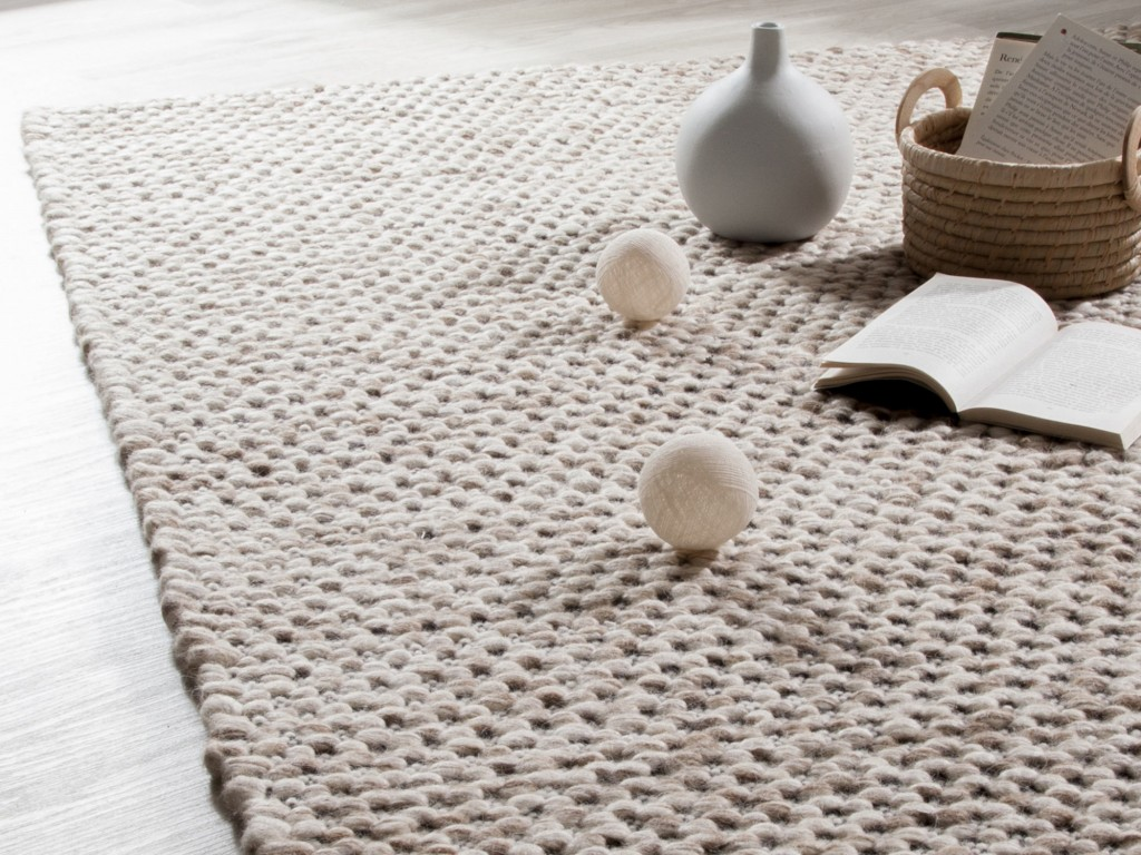 tapis mailles tricot beige