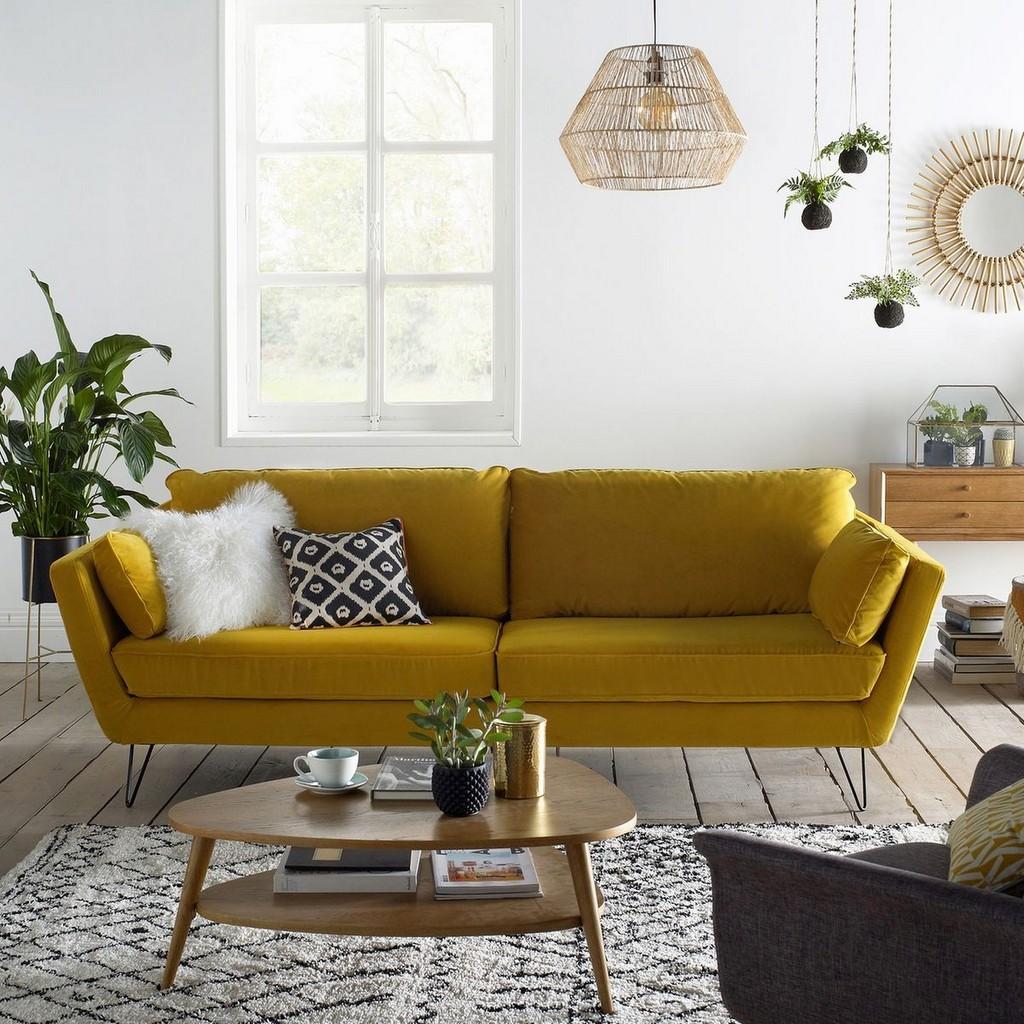 Quelle déco pour un salon avec un canapé jaune ?