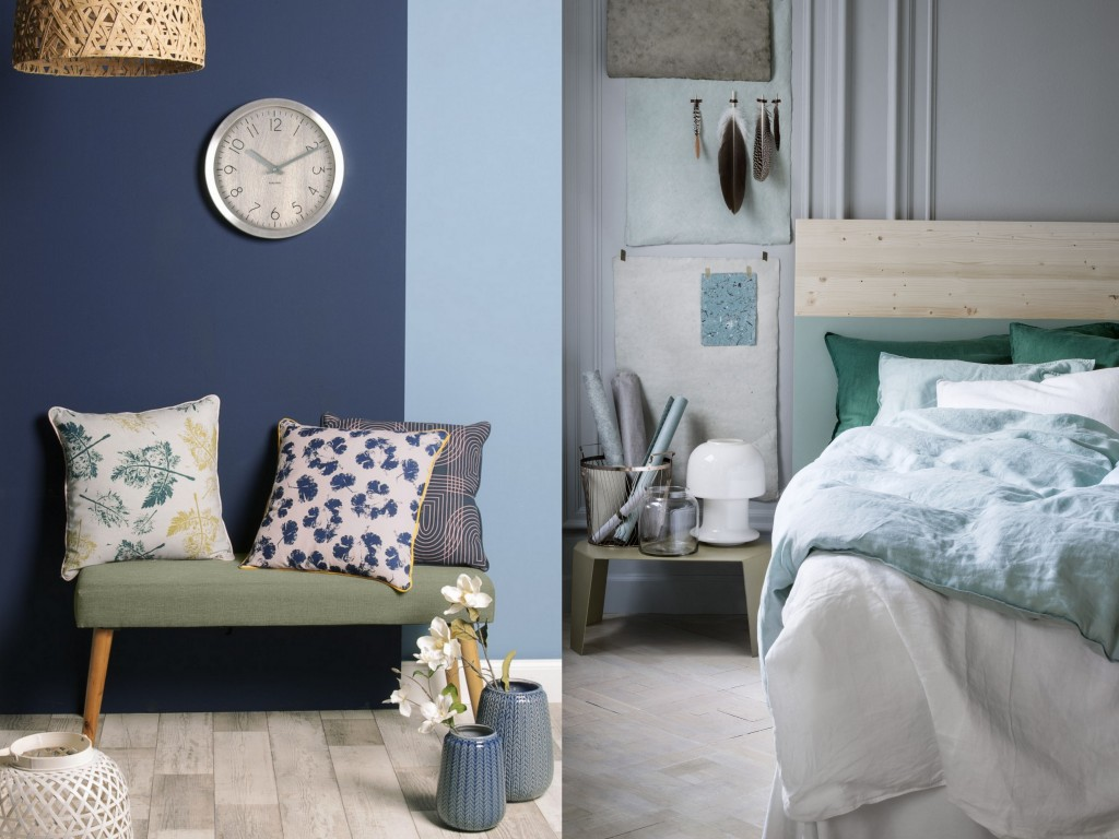 le bon mix d co vert et bleu joli place. Black Bedroom Furniture Sets. Home Design Ideas