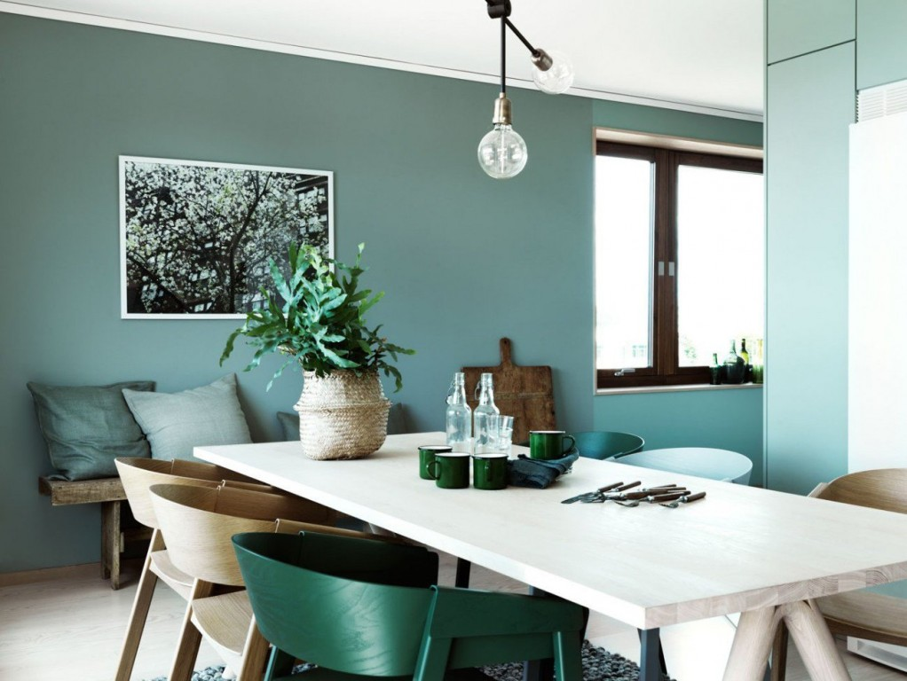 Le bon mix d co vert et bleu joli place - Idee deco mural salon ...