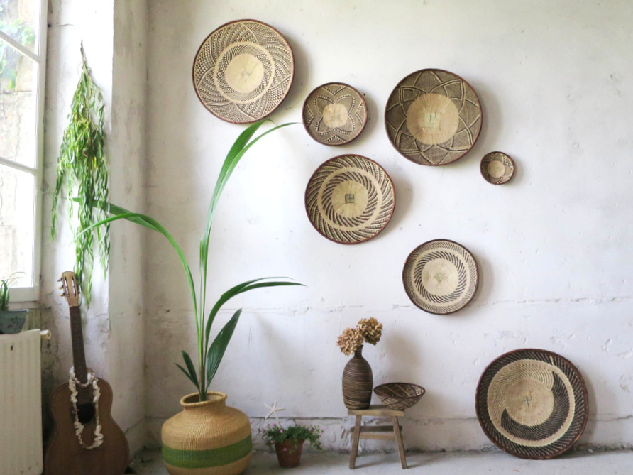 Must have le panier mural rond d 39 inspiration ethnique for Decoration murale rotin