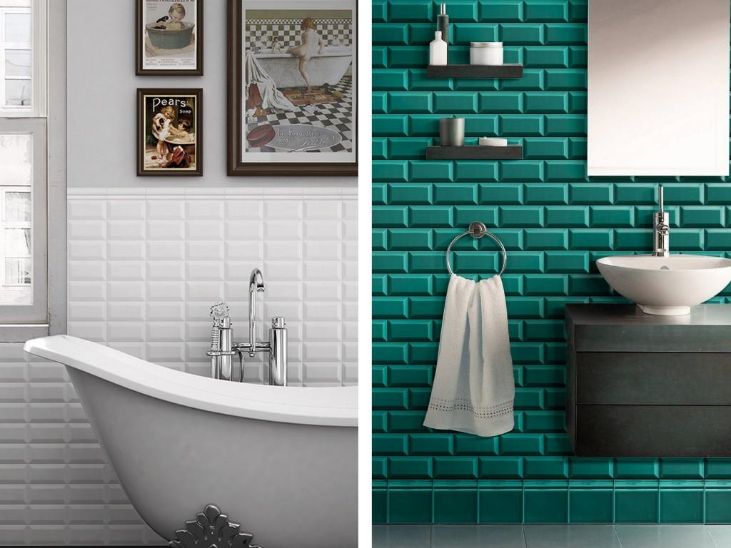 15 salles de bains avec du carrelage m tro joli place for Salle de bain vert kaki