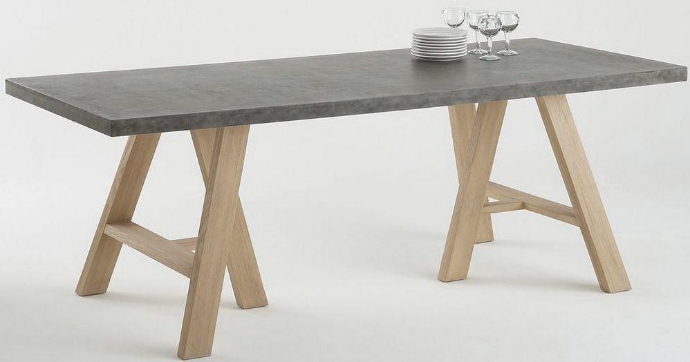 Table de repas bois et béton