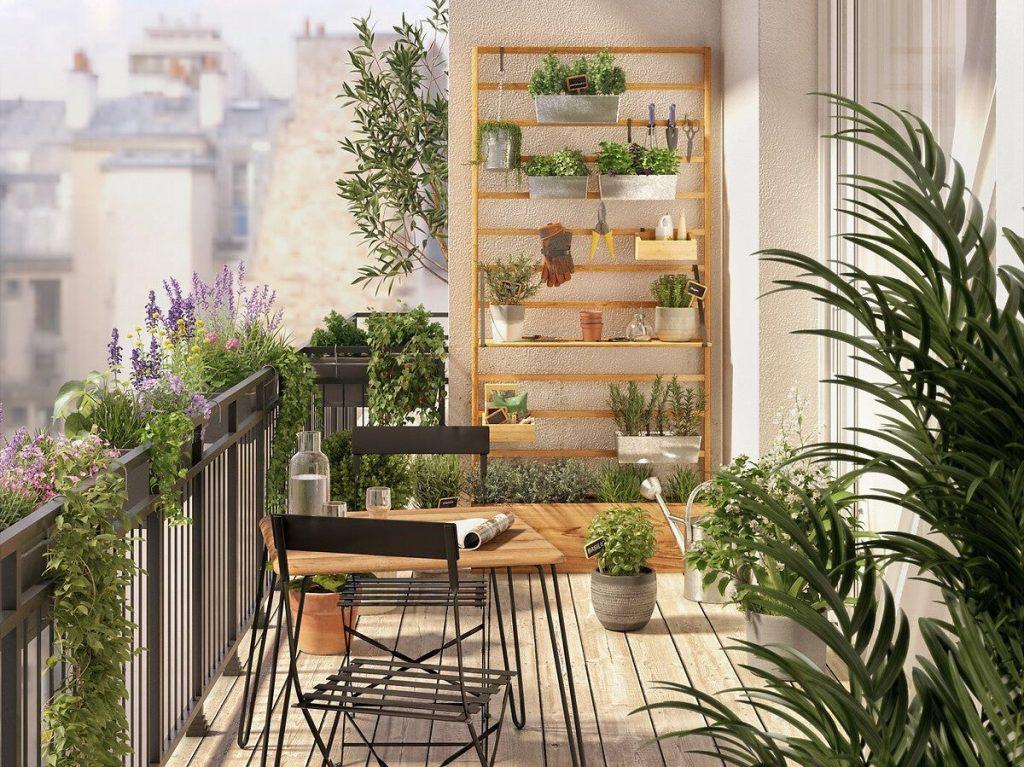 claustra balcon avec jardiniere