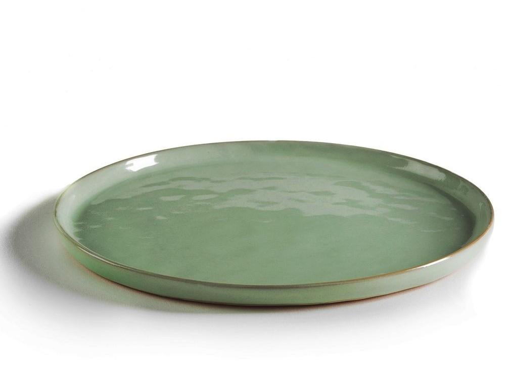 assiette en grès vert
