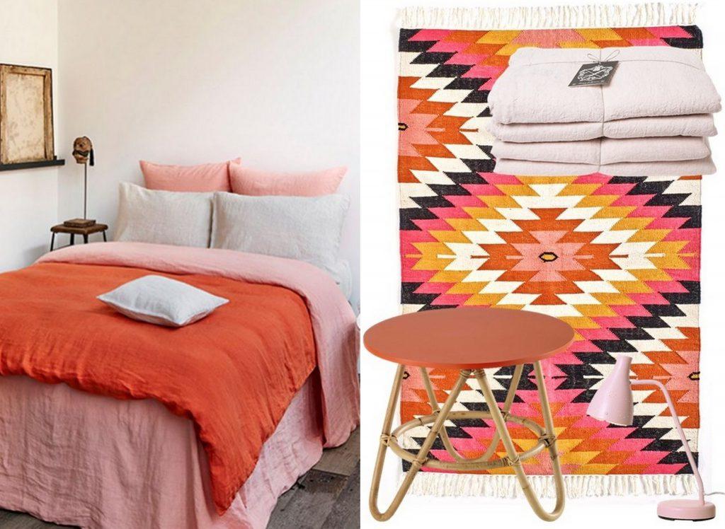 Le bon mix d co rose et orange joli place - Deco chambre ethnique ...