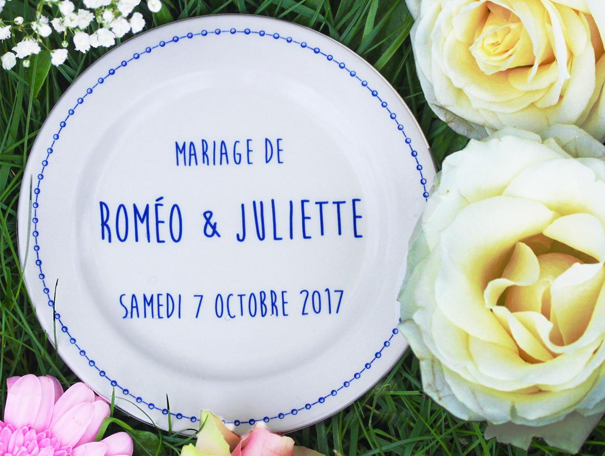assiette personnalisable mariage
