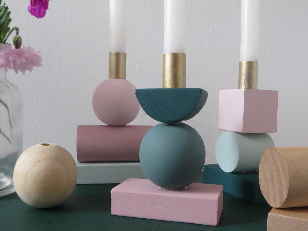 diy des bougeoirs en bois g om triques faciles fabriquer joli place. Black Bedroom Furniture Sets. Home Design Ideas