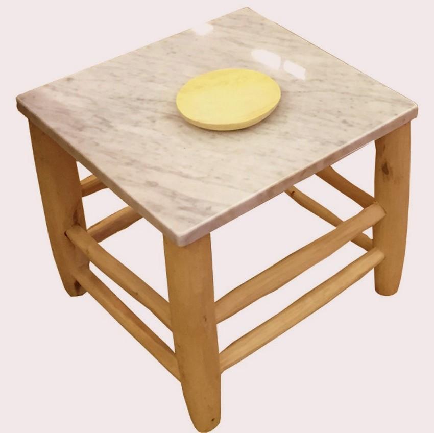 table marbre et bois